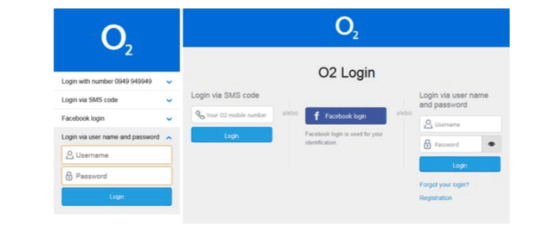 Mobile and desktop login screen customized by O2 using responsive design.